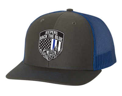 Jeepers Back the Blue Snapback Hat | Charcoal/Royal
