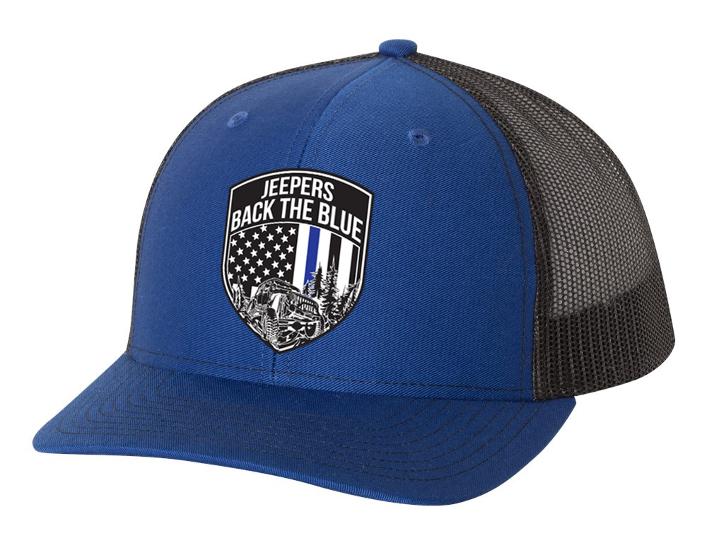 Jeepers Back the Blue Snapback Hat   Royal/Black
