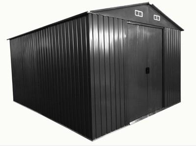 Vrtna kovinska hiška/ uta za orodje siva - 8 m² - večja vrata