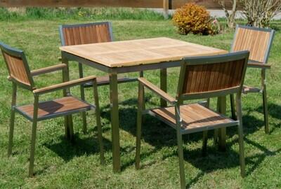 VRTNA GARNITURA KUBA – TEAK A RAZRED + INOX miza 90x90 cm + 4x stoli