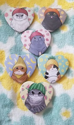 Cats in Hats Heart Buttons