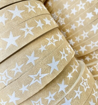 Stars Self Adhesive Brown Paper Tape  18mm