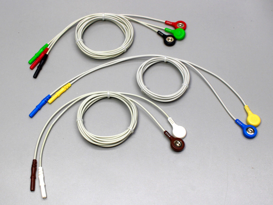 Recording Leads - 7 Safety Pin to Snap Connectors