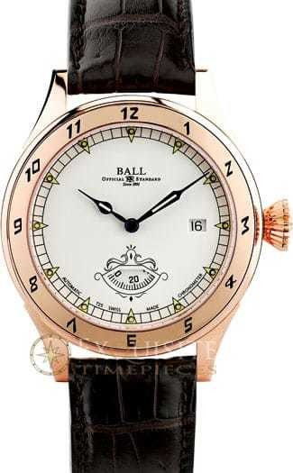 Ball Watch Trainmaster Secometer 18K COSC NM1098D-PG-LCJ-WH