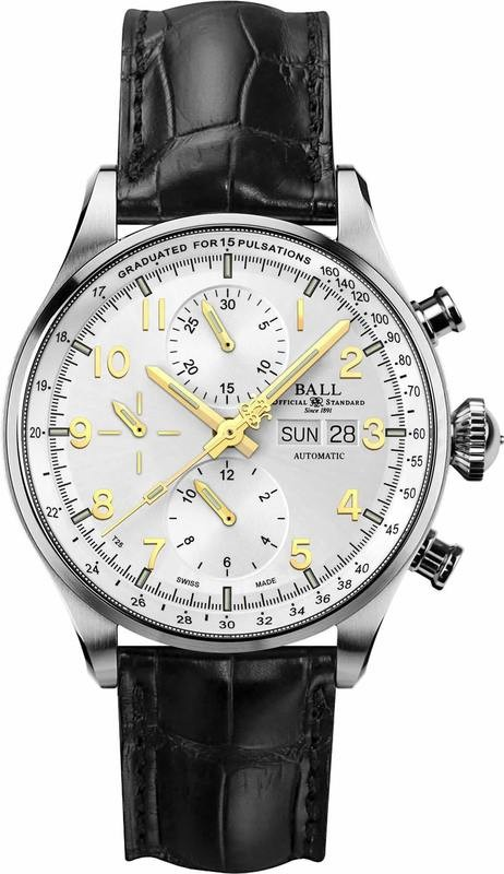 Ball Watch Trainmaster Pulsemeter Chronograph Silver CM3038D-LFJ-SL