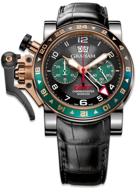 Graham Chronofighter Oversize GMT Black BRG Steel & Gold 2OVGG.B16A