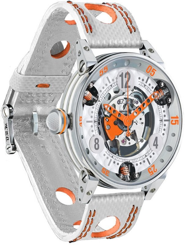 BRM Golf White Skeleton Dial Orange