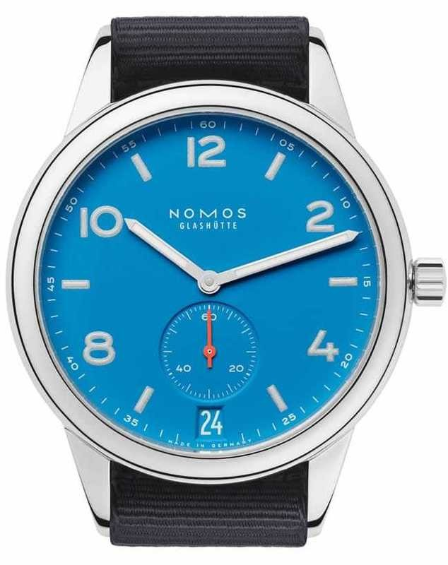 NOMOS Glashütte Club Automat Datum Signalblau