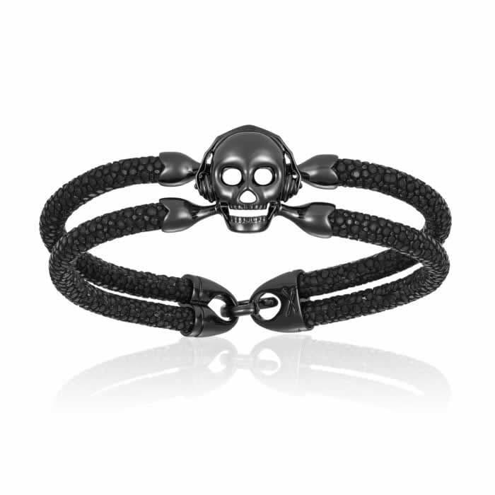Double Bone Single Skull Black Stingray Bracelet Black PVD Skull