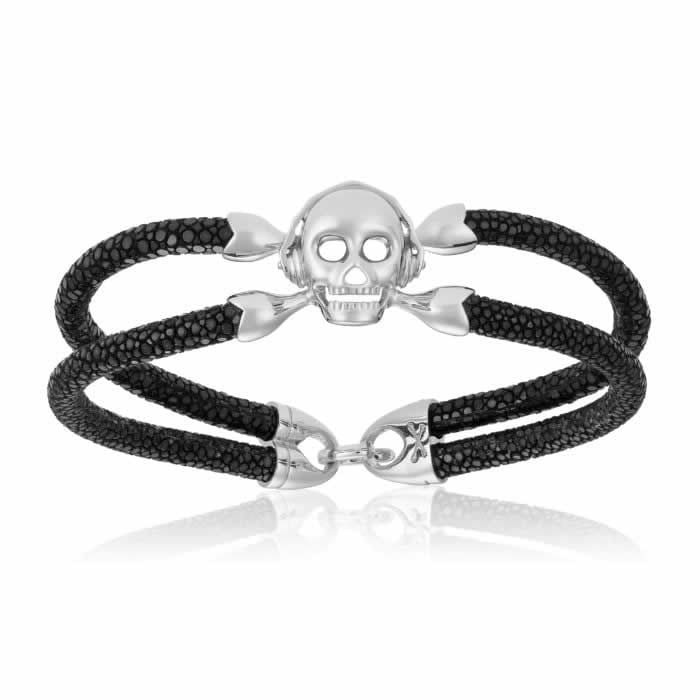 Double Bone Single Skull Black Stingray Bracelet With Silver Skull