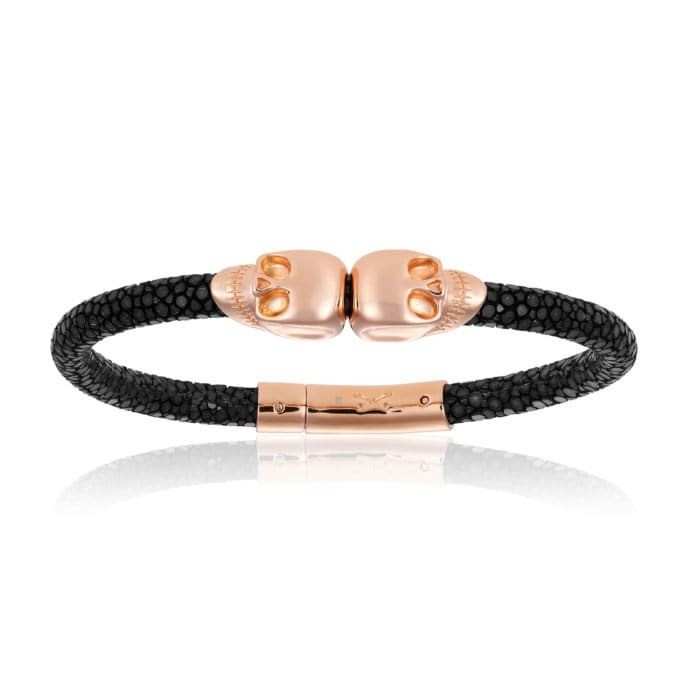 Double Bone Double Skull Black Stingray Bracelet With Pink Gold Skull