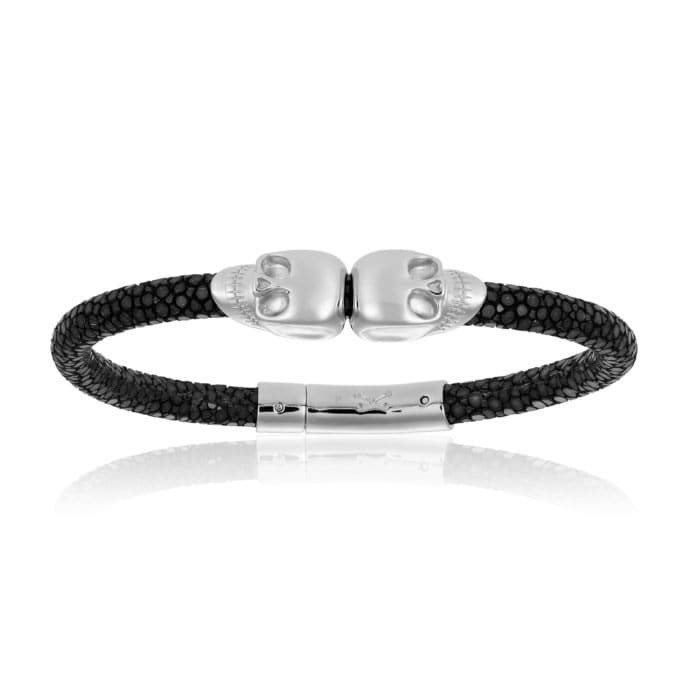 Double Bone Double Skull Black Stingray Bracelet With Silver Skull