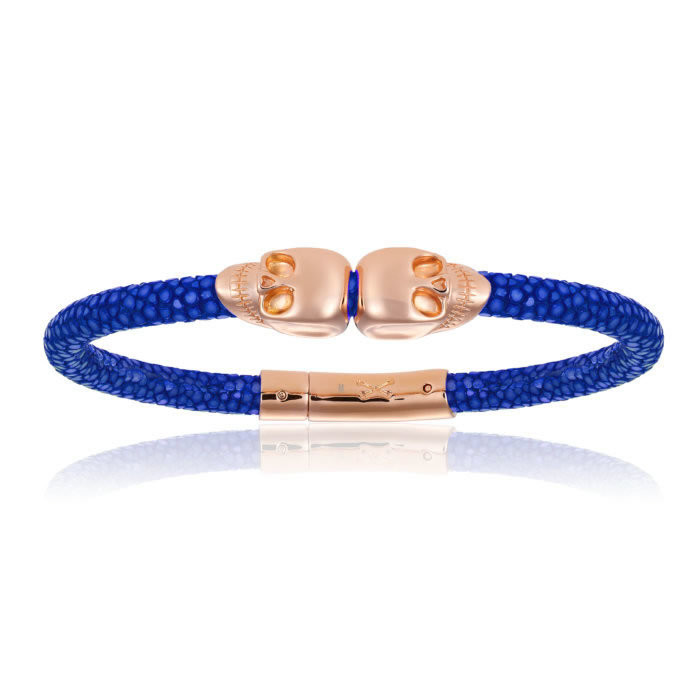 Double Bone Double Skull Blue Stingray Bracelet With Rose Gold Skull