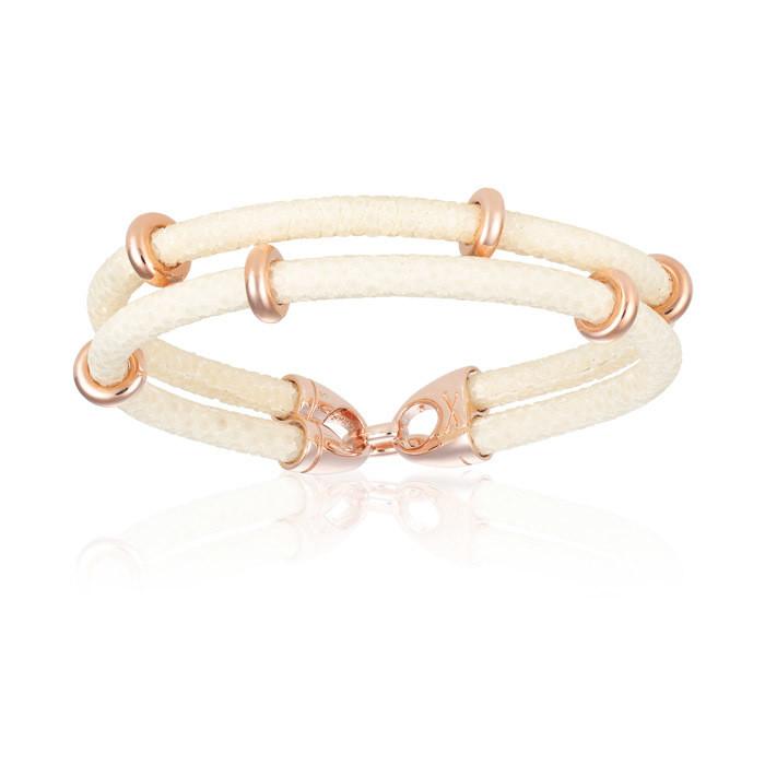 Double Bone Doble Stingray White Bracelet Rose Gold Beads For Man