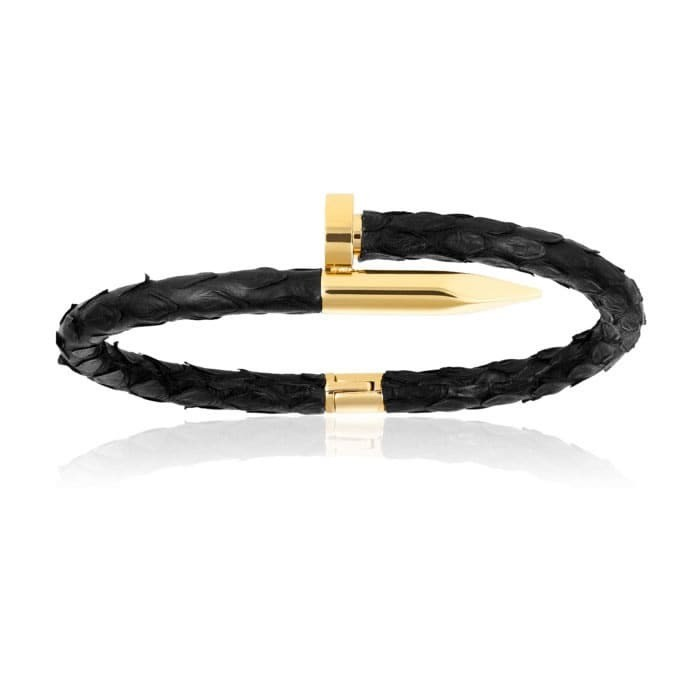 Double Bone Black Python Bracelet with Yellow Gold Nail