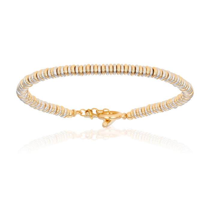 Double Bone White Gold Bracelet With Yellow Gold Beads Unisex