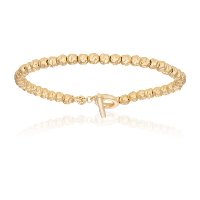 Double Bone Medium Beads Yellow Gold Rock Bracelet Unisex