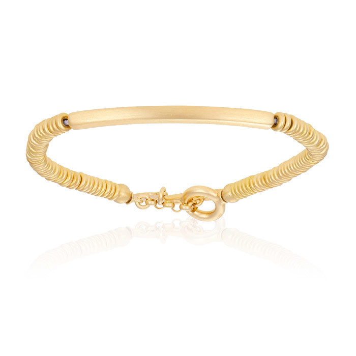 Double Bone Medium Beads Yellow Gold Bracelet With Tag Beds Unisex