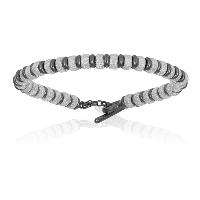 Double Bone Big Beads White Gold Bracelet With Black PVD Beads Unisex
