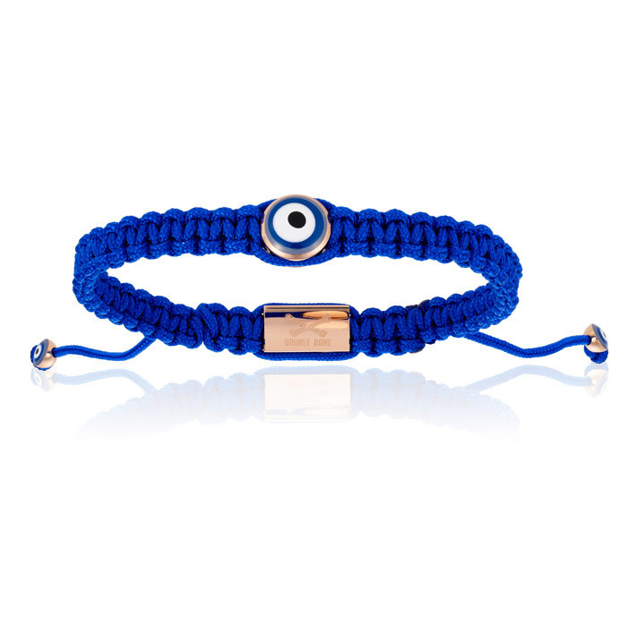 Double Bone Single Eye Blue Nylon Bracelet With Pink Gold Eye Unisex