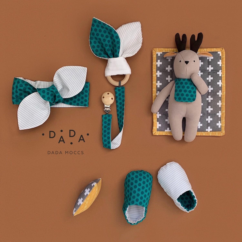 Комплект повязка, прорезыватель с держателем, моксы и игрушка