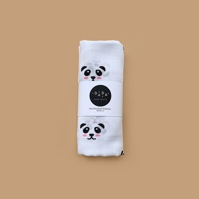 Муслиновая пеленка Panda (white)
