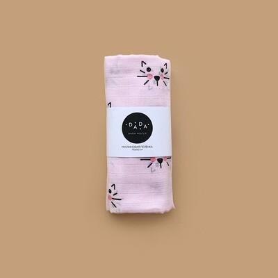 Муслиновая пеленка Cat (pink)