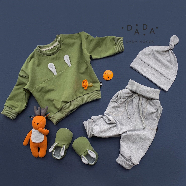 Комплект свитшот Bunny, джоггеры, шапочка и моксы Bunny