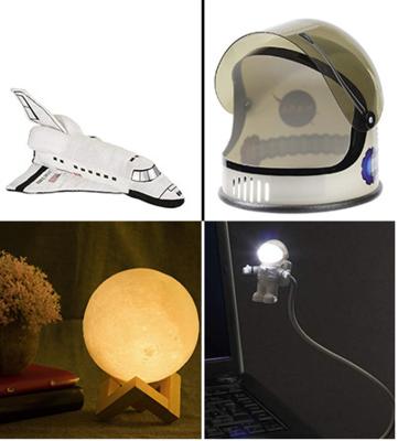 Mug, Moon Lamp, Galactic Umbrella, Spaceman Light, Astronaut Helmet, Space Shuttle Plush