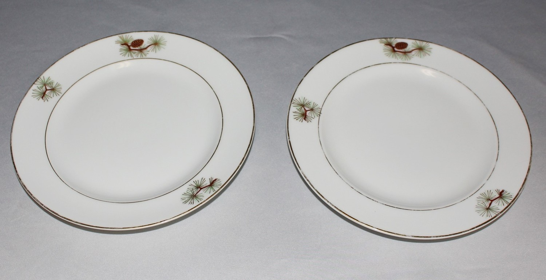 "Set of 2 Fukagawa Arita ""Pine Needles & Cones"" 7.5"" Salad Plates #504, Japan"