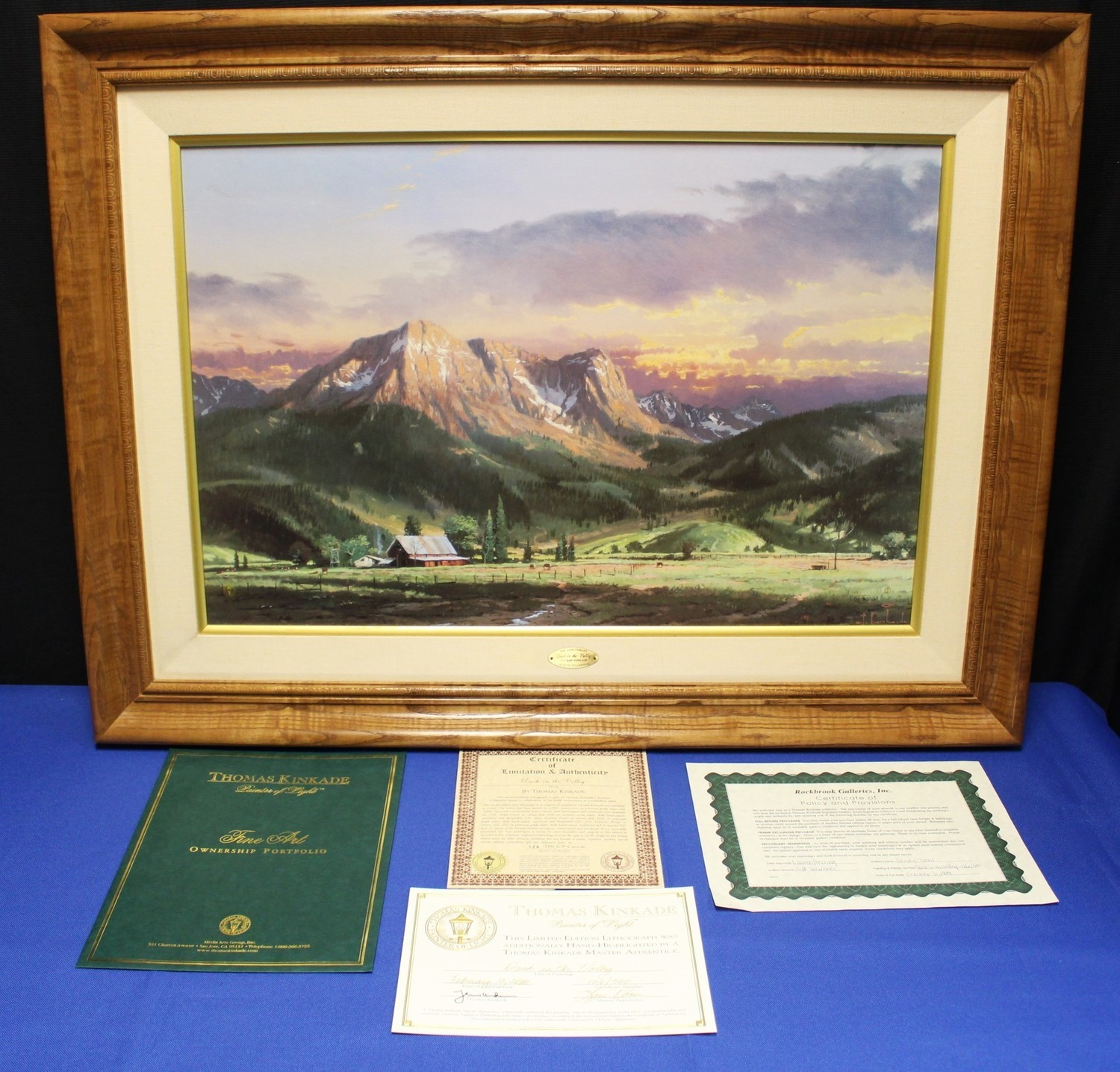 "Thomas Kinkade ""Dusk in Valley"" 18 x 27 Framed Lithograph on Canvas G/P #126/500"