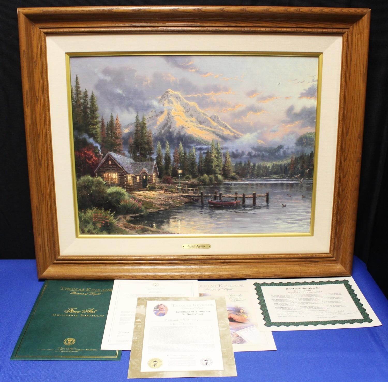 "Thomas Kinkade ""Lakeside Hideaway"" 18x24 Lithograph on Canvas G/P #827/1100"