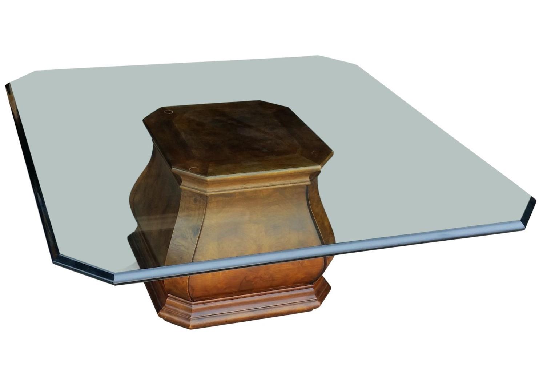 Henredon Burled Walnut Pedestal Square Beveled Glass Top Coffee Table