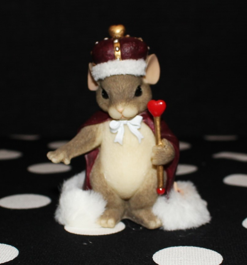 """Charming Tails by Fitz & Floyd 2000 """"King of My Heart"""" #84/113 Figurine w/Box"""