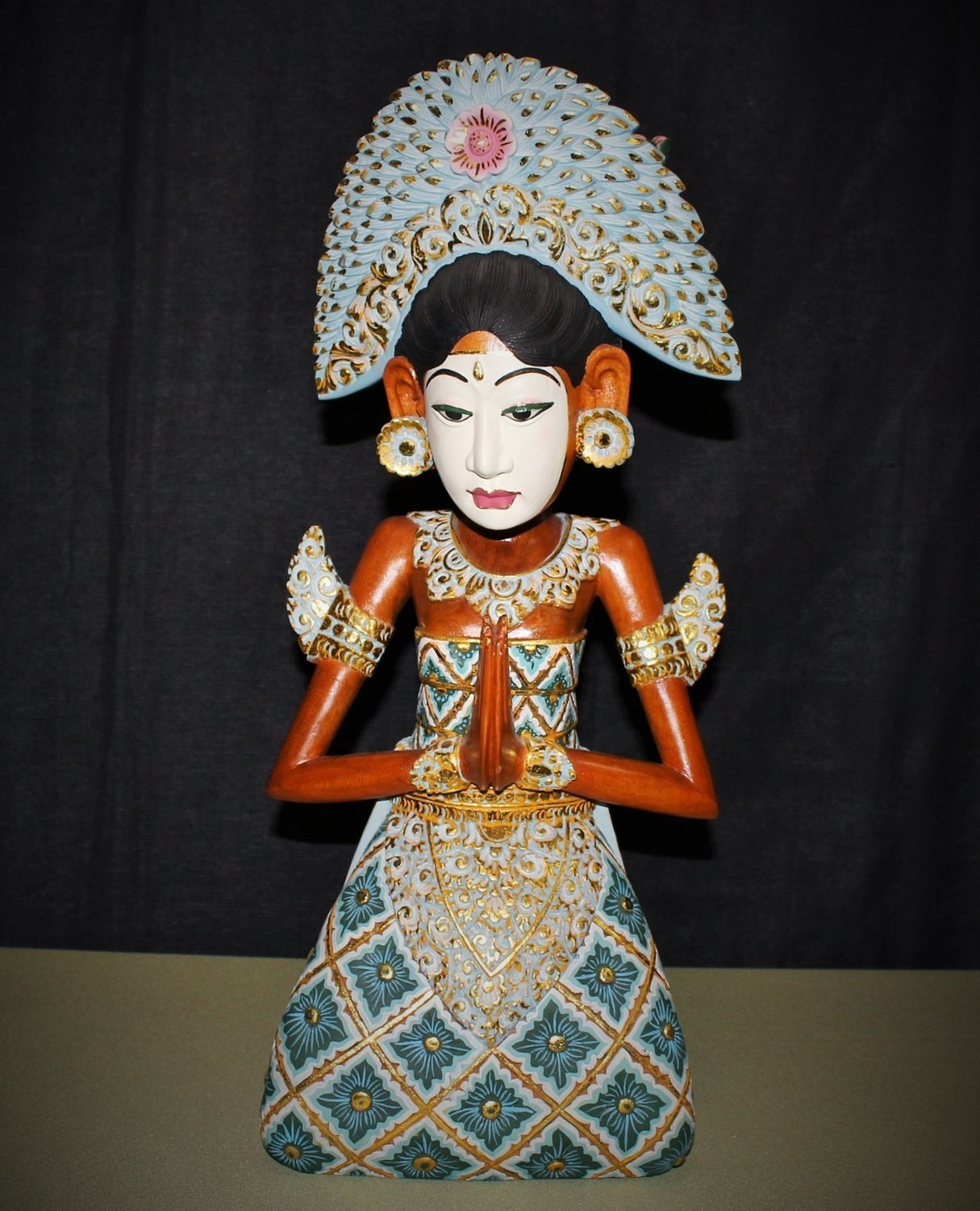 """Vintage Goddess Figurine Statue Hand Carved Painted Balinese 21"""" Wood Sculpture"""