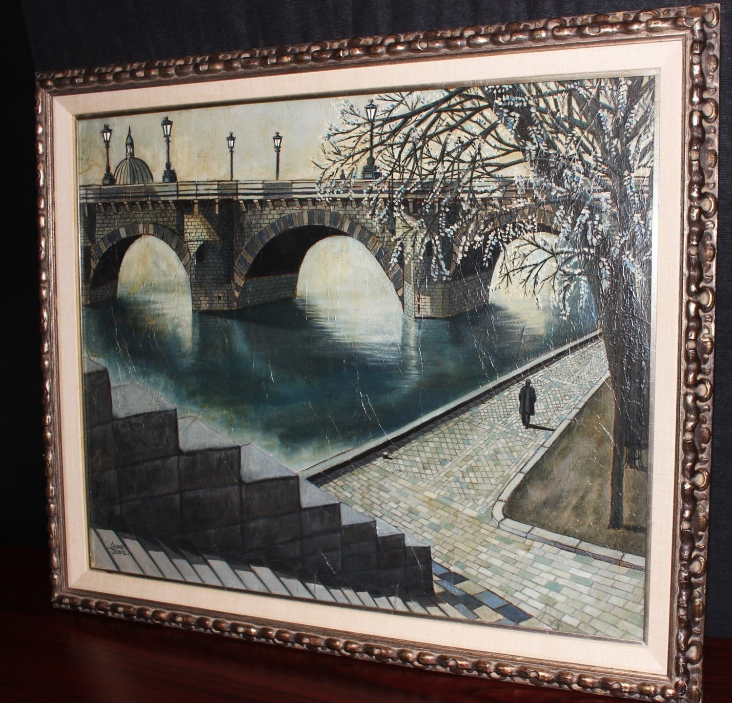 Original George Crionas Embankment Oil on Canvas Framed 35 x 24 Painting, Signed