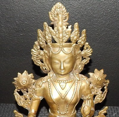 "​Antique Bronze 14"" Tibet Dynasty Figure Statue Seated on Lotus Base"