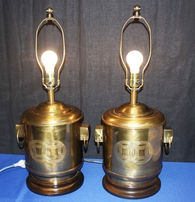 Pair of Original Frederick Cooper Vintage Asian Solid Brass Canister Lamps