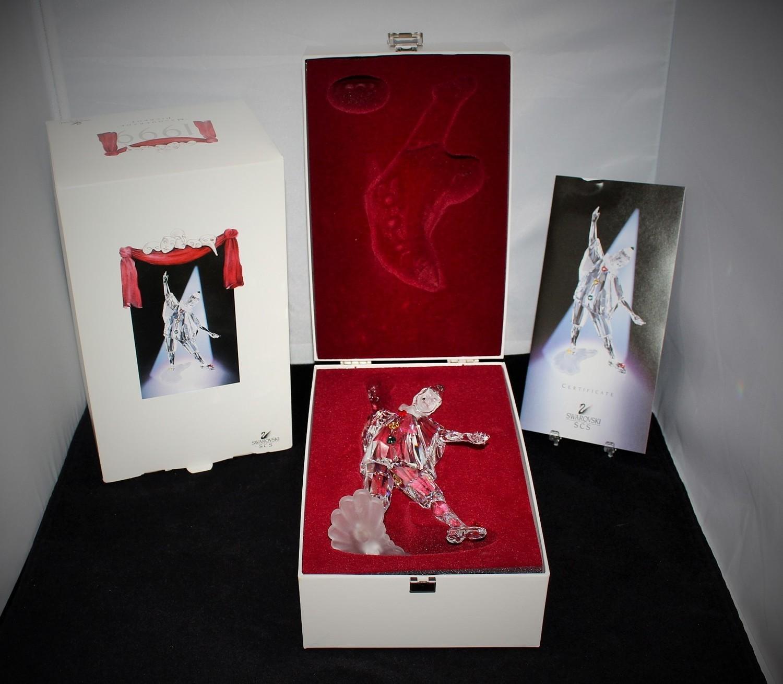 "Swarovski Crystal 1999 Masquerade Pierrot 8"" Figurine w/ COA in Original Box"