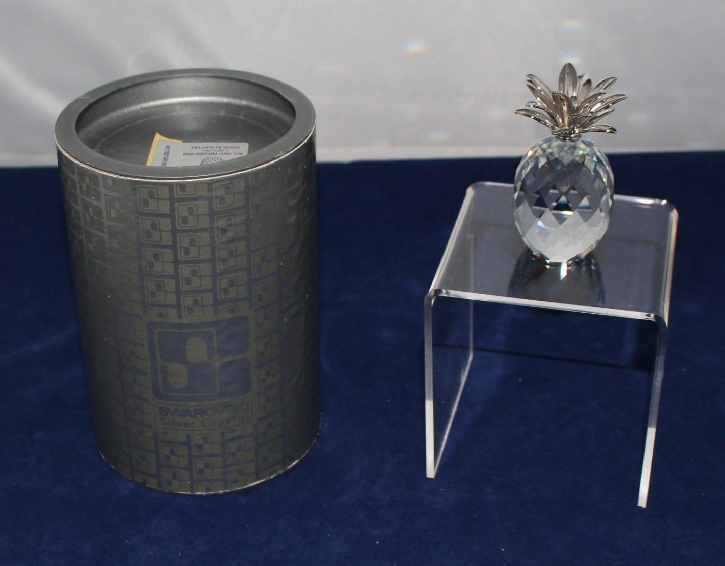Swarovski Crystal Pineapple Sparkling Figurine w/ Rhodium Smooth Leaves in Box