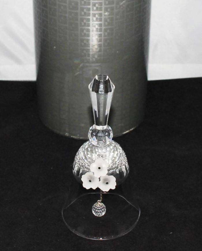 Swarovski Crystal White Frosted Flower Dinner Bell #7467 w/ Certificate & Original Box