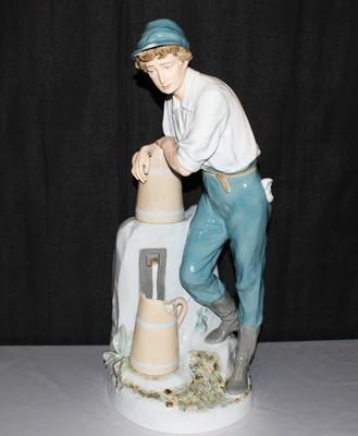 "Royal Dux 24"" Porcelain Bohemia Boy at Water Fountain Figurine, Circa 1940's"