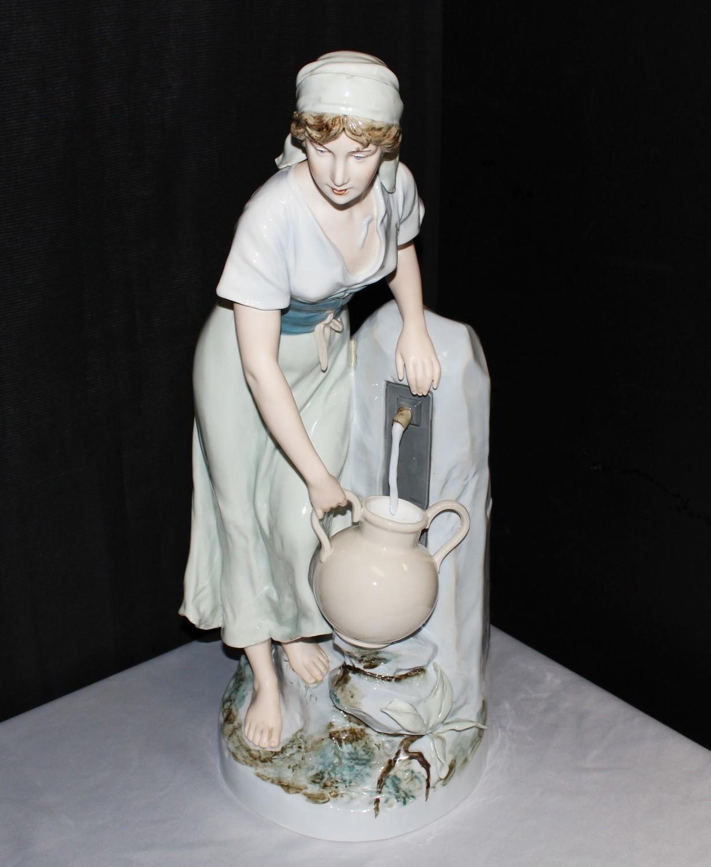 "Royal Dux 24"" Porcelain Bohemia Girl at Water Fountain Figurine, Circa 1940's"