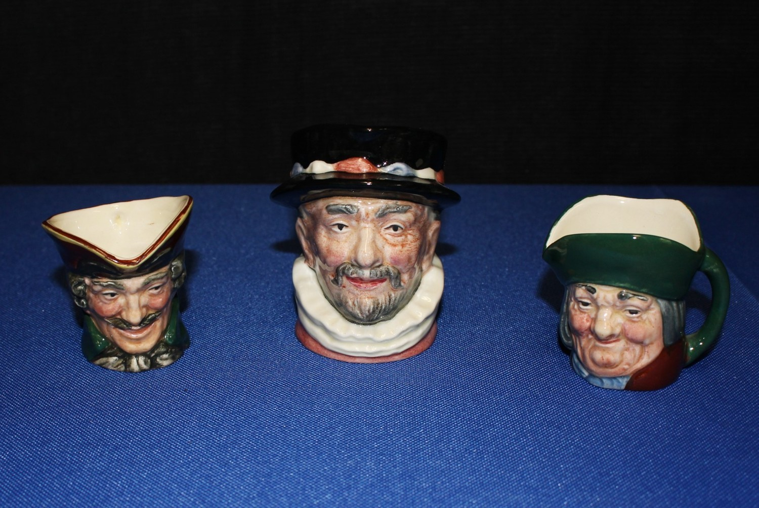 Set of 3 Royal Doulton Toby Character (Turpin, Philpots, Beefeater) Mini Mugs