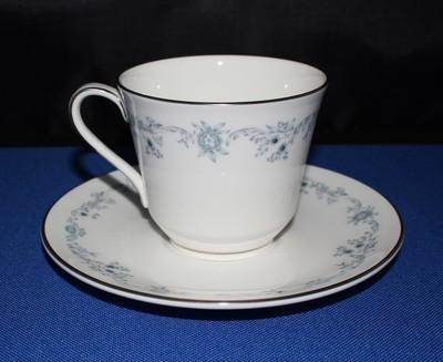 Royal Doulton Angelique Blue Floral Cup & Saucer Set #H4997 Fine Bone China