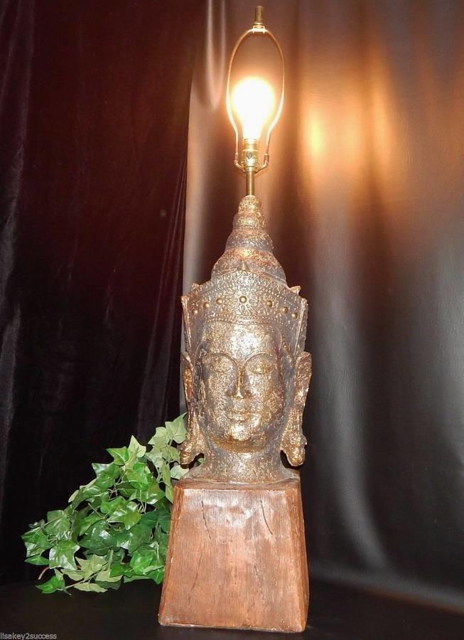 """Huge 44"""" Vintage Mid-Century Buddha Head Sculpture Lamp on Wood Base, Rare"""