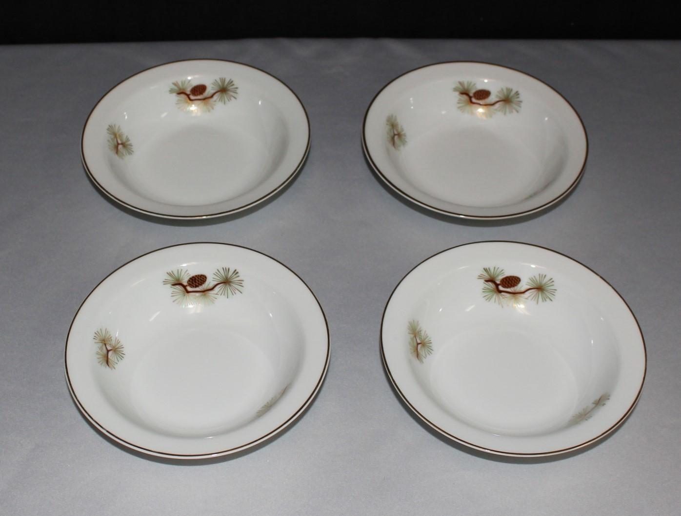 "Fukagawa Arita ""Pine Needles & Cones"" 5.5"" Fruit Dessert (Sauce) Bowls #504"