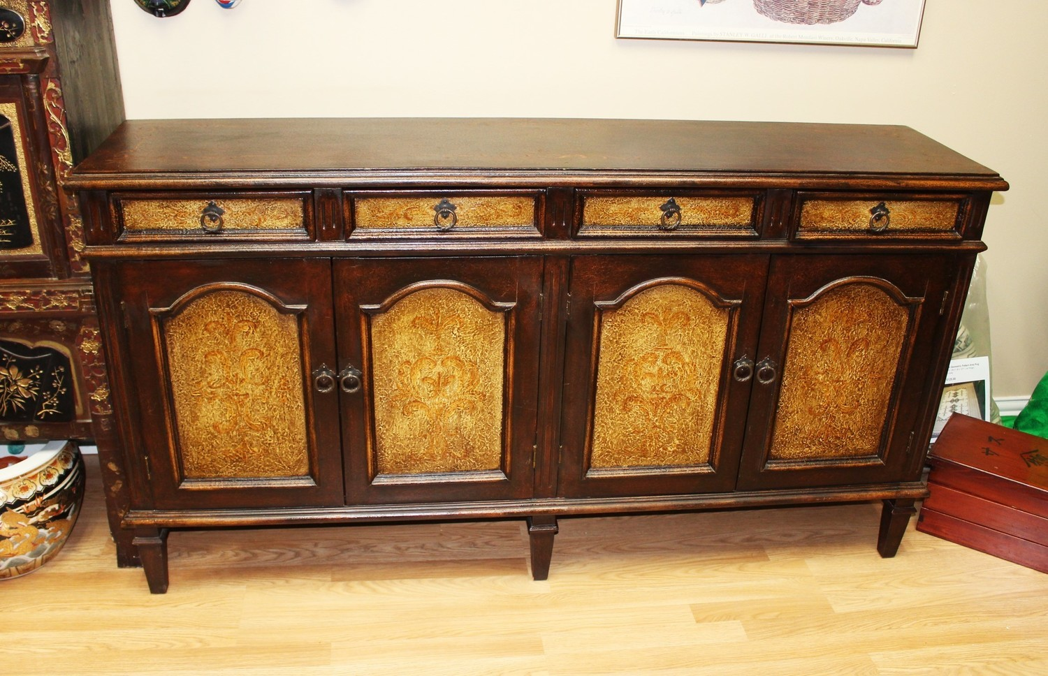 Vintage Hand Painted Long Buffet Console 4-Door Cabinet