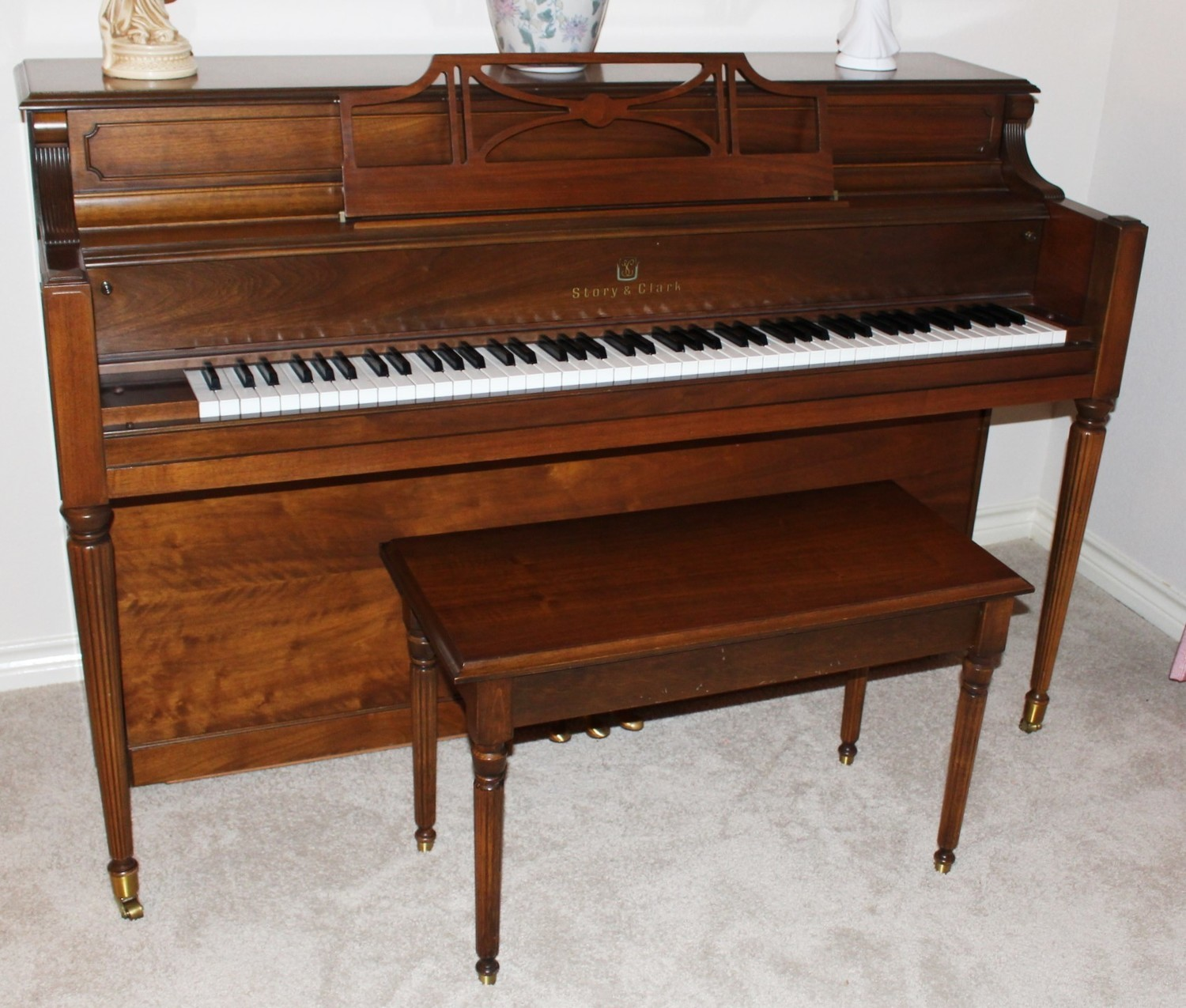Vintage Piano Story and Clark Upright w/ Original Bench