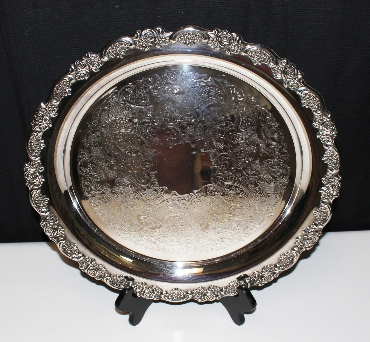 """1960's ONEIDA DU Maurier 15"""" Silver Plate Heavy Scallop Ornate Edge Serving Tray"""